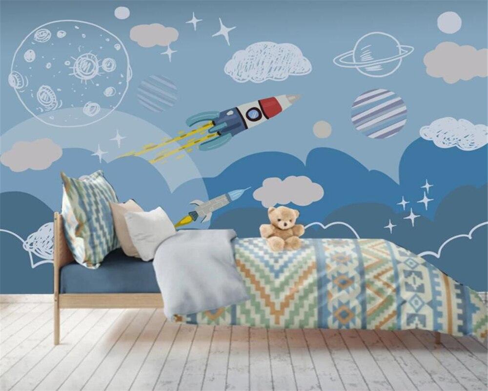 Beibehang Custom Wallpaper Hand Drawn Children's Room Spaceship Living Room Bedroom Sofa TV Background Wall 3d Wallpaper