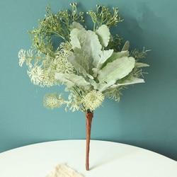 Mieszany pakiet trawy sztuczne rośliny z Cineraria zielone liście dekoracja ślubna do domu sztuczne kwiaty diy aranżacja wieniec