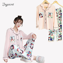 Women Pajamas Set Long Sleeve Silk Satin Pyjamas Cartoon Sno