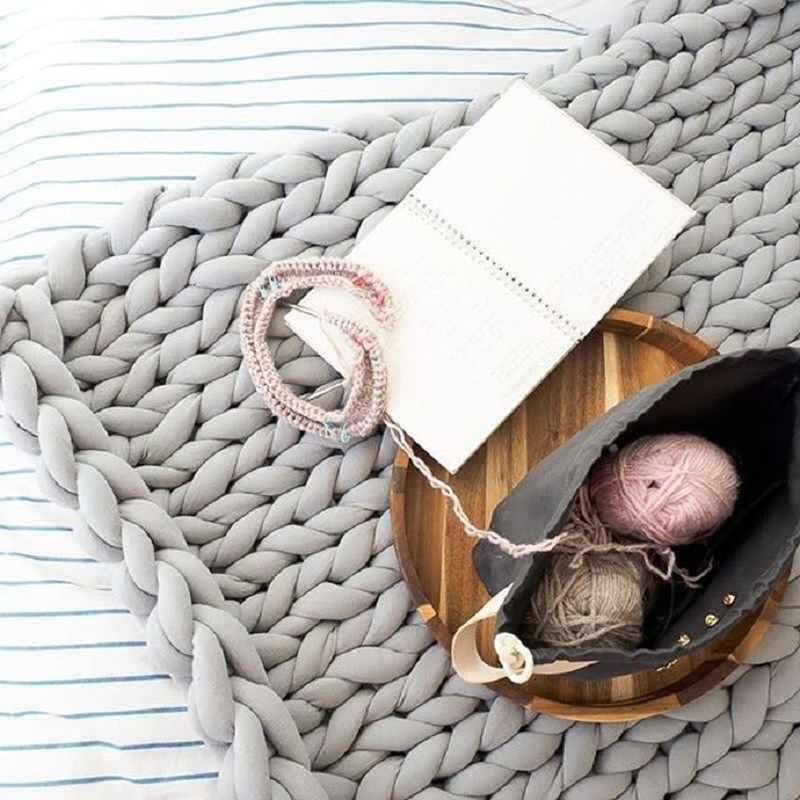 100 Cm X 180Cm Fashion Tangan Chunky Rajutan Wol Selimut Tebal Benang Wol Merino Showroom/Bulky Merajut Selimut Chunky Merajut selimut