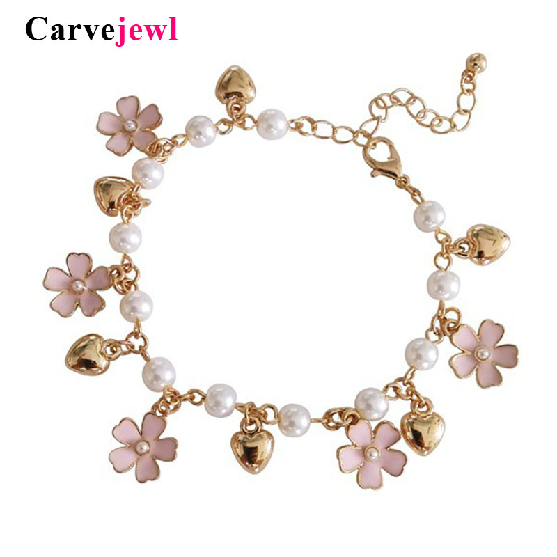Carvejewl hand made emaille glasur blume liebe wärme Charms Armband armreif verbunden perle einfache Armband schöne junge mädchen armband