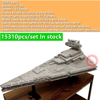 New 15310PCS MOC-9018 Imperial Star Destroyer Moderately Sized ISD Full Interior Fit Star space Wars Building Block Brick Toy