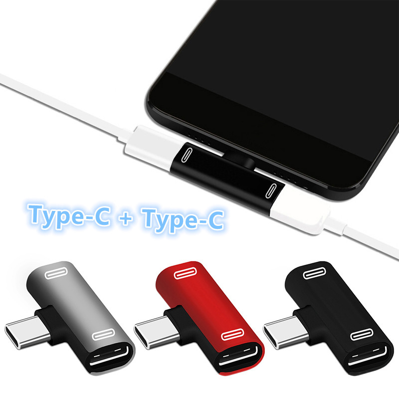 Double Type C Adapter For Huawei P30pro Mate 20pro Mate 30pro Nova 6 Honor 20 Pro Dual USBC Splitter 2 In 1 TupeC AUX Converter