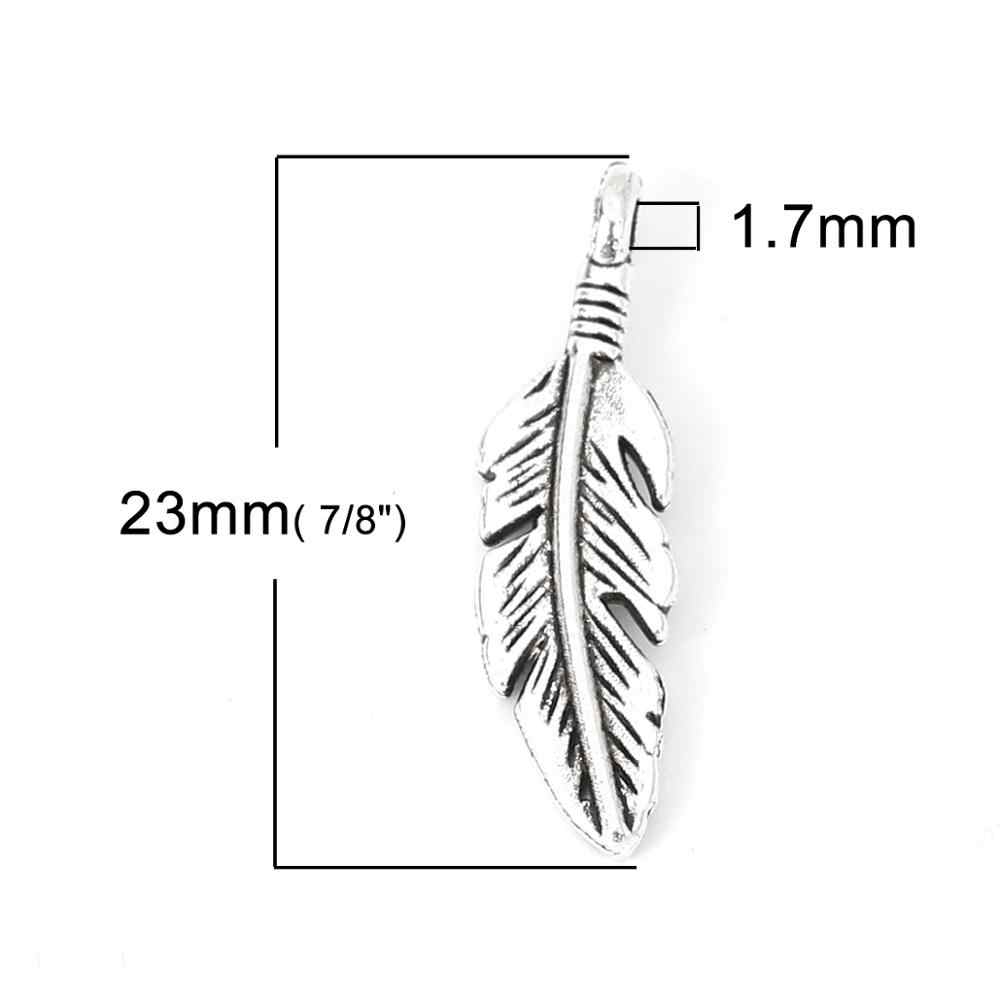 "Doreen กล่องแฟชั่นโลหะผสมสังกะสีจี้ Feather Silver Charms เครื่องประดับ DIY VINTAGE 23 มม.(7/8 "") x 6 มม.(2/8 ""),10 PCs"