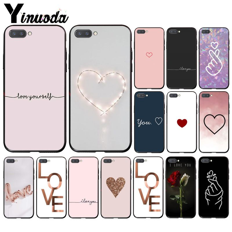 Yinuoda I Love You Pink Heart Phone Case For Huawei Honor 8A 8X 9 10 20 Lite 7A 5A 7C 10i 20i