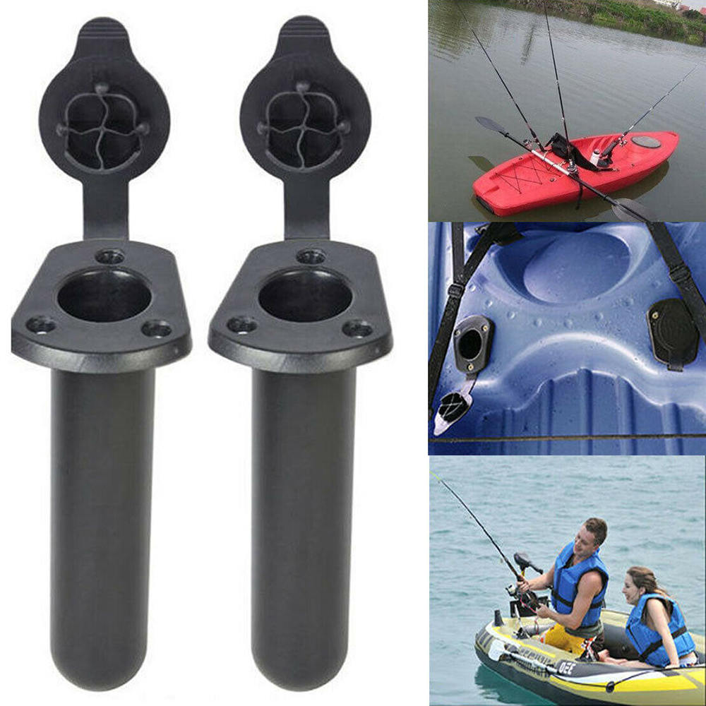 2pcs Flush Mount Fishing Boat Rod Holder Bracket With Cap Cover Kayak Fishing Tackle Rowing Boats Kayak Accessory Tool