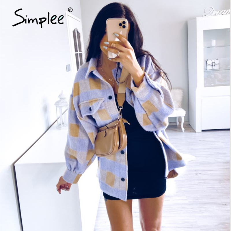 Simplee Casual Plaid Jacket Coat Women Puff Sleeve Button Pockets Outwear Female Jackets Spring Plus Size Ladies Long Coat 2020