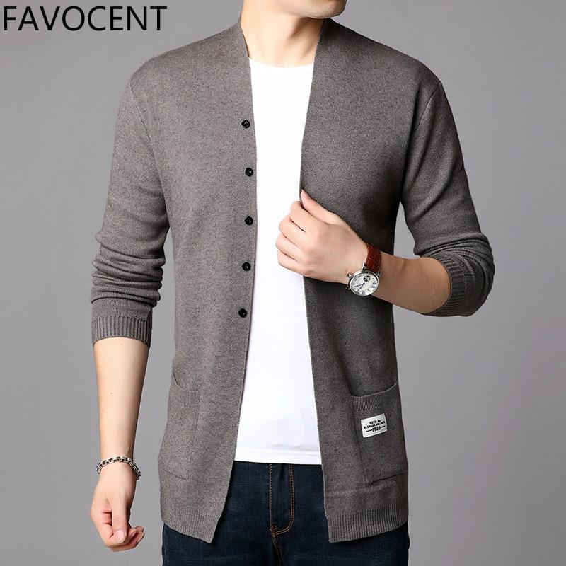 2019 Fashion Mens Cardigan Jackets Coats Streetwear Trend Windbreaker Autumn Overcoat Casual Sweater Jacket Men Clothing Black