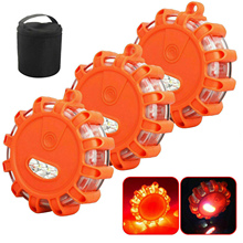 LED Flares Emergency Roadside Lights Flashing Road Beacon Lamp with Magnetic Base for Car Marine Boat Rainproof Red
