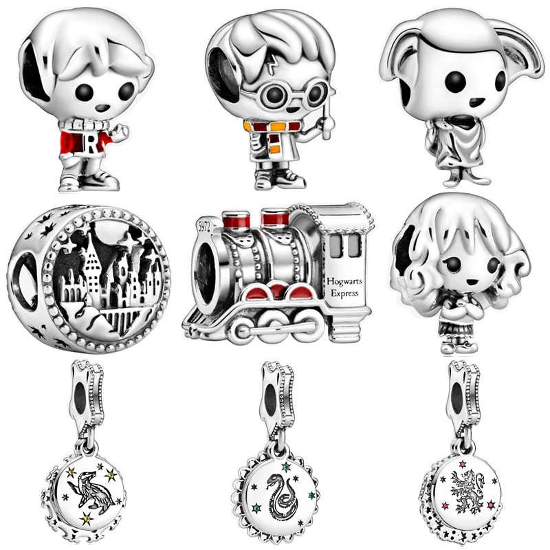 925 Perak Asli Baru Kartun Anak Laki-laki Gadis Hiasan Manik-manik Liontin Sesuai Pandora Gelang & Kalung untuk Wanita Pecinta DIY Perhiasan