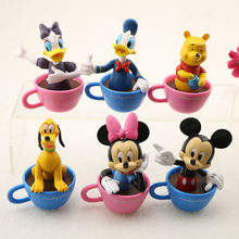 2pcs/lot Random Cartoon Model Figurine Toy Movie Animated Minnie Mickey Mouse PVC Action Figures Toys Gifts for Kids Children(China)