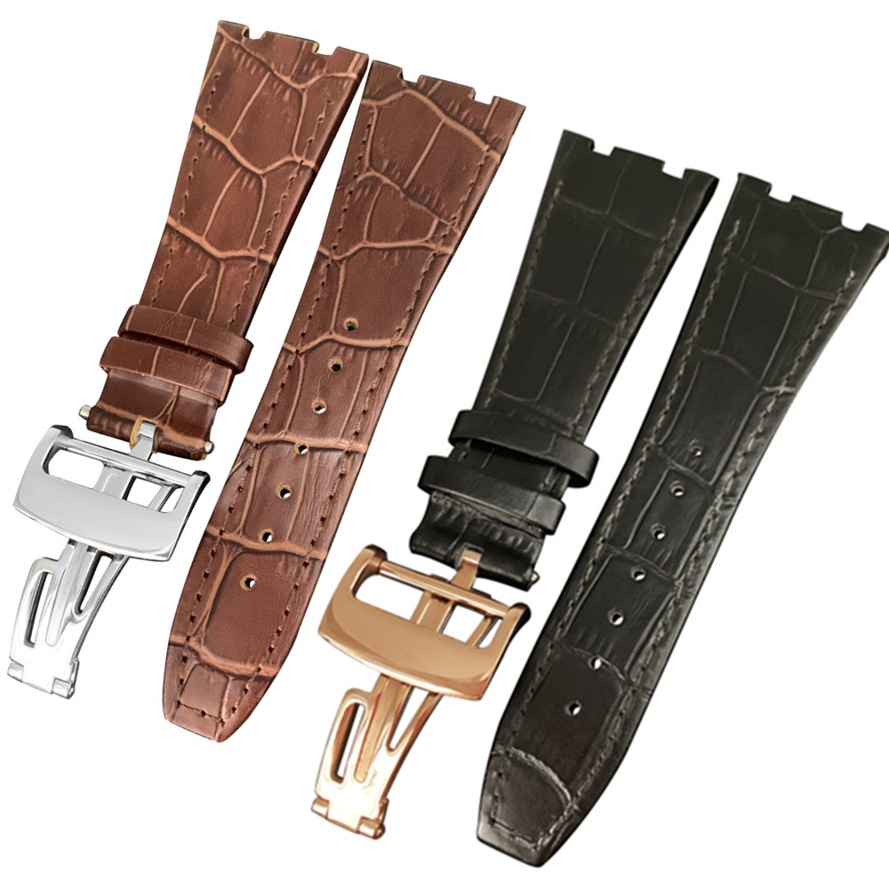 For <font><b>AP</b></font> strap 26mm Black Brown With Stitches Genuine Leather <font><b>Watch</b></font> <font><b>Band</b></font> Bracelet with steel deployment buckle image