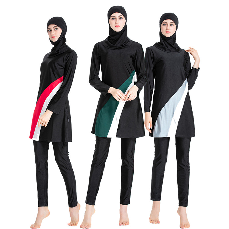 Hijab Swimsuit New Burkini Long Sleeve Muslimah Bathing Suit Women Islamic Habit Femme Burkinis Patchwork Color Muslim S-6XL