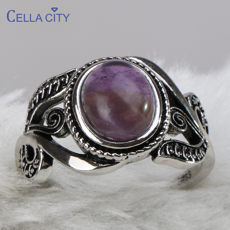 Cellacity Amethyst Ring For Women Vintage Thai Silver 925 Jewelry Oval Gemstones Temperament Female Gifts Wholesale Anniversary