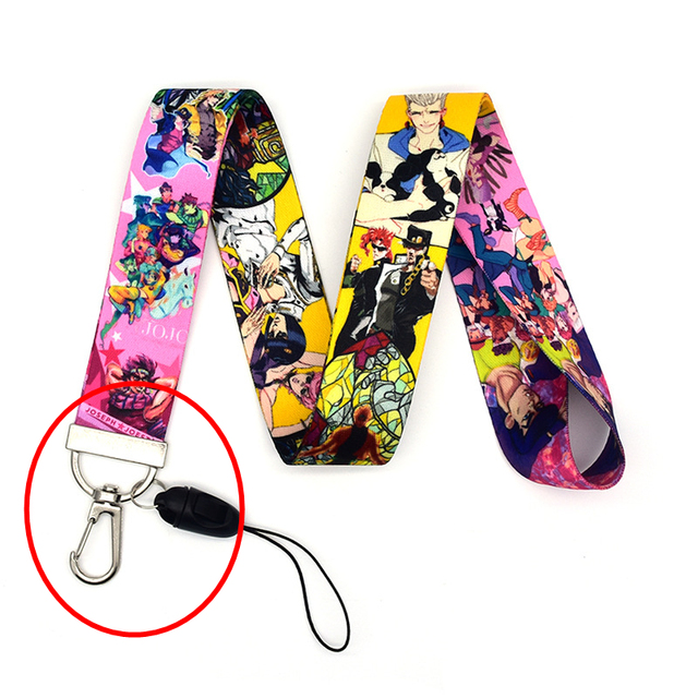 Jojo Bizarre Adventure Cosplay Accessories Prop Chain Key Rings Cell Phone Neck Strap ID Lanyards Key 4