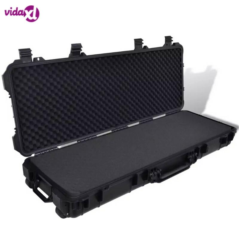 VidaXL Plastic Molded Gun Case 3 Handles And 2 Wheels Trolly Carry Case Hunting Rifles Pistols Guns Transporter Storage Box