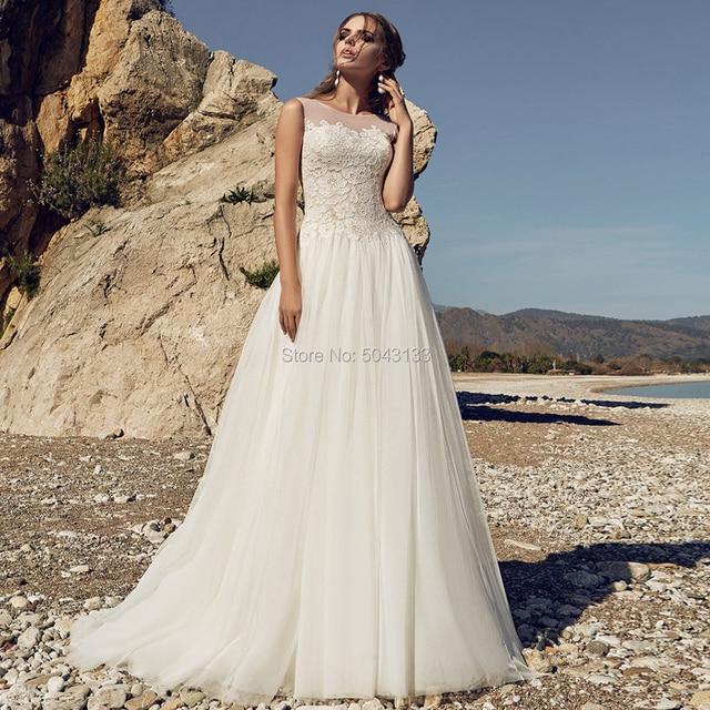 Robe de Mariee Bohemian Wedding Dresses Sexy Sheer Neckline Sleeveless Open Back Lace Wedding Bride Gowns Floor Length 2020