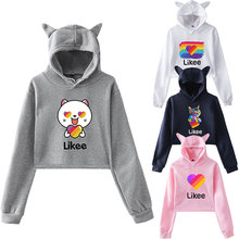 Likee app women female hoodies pink cat ear russia style trendy