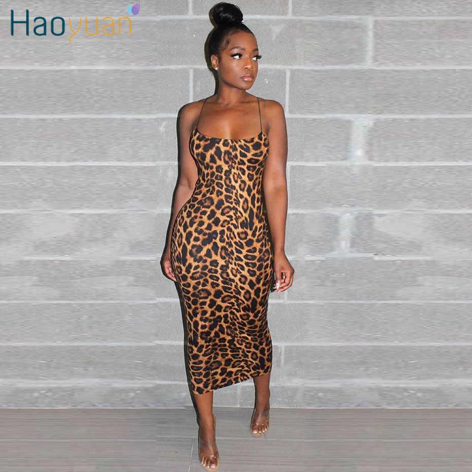 Haoyuan Gợi Cảm Cheo Cheo Da Báo Đầm Midi Nữ Quần Áo Plus Size Đầm Vestido Thanh Lịch Spaghetti Dây Ôm Body Đêm Club