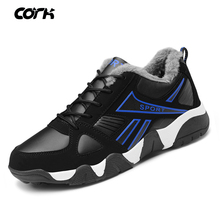 CORK 2019 Autumn Winter Sneakers Men Shoes Casual With Fur Plush Breathable Comfortable Male Footwear Walking
