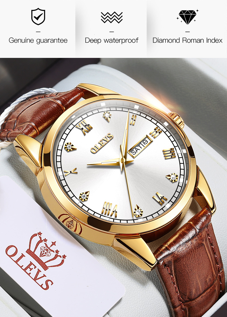 Olevs 6896 Leather Watch for Men 8
