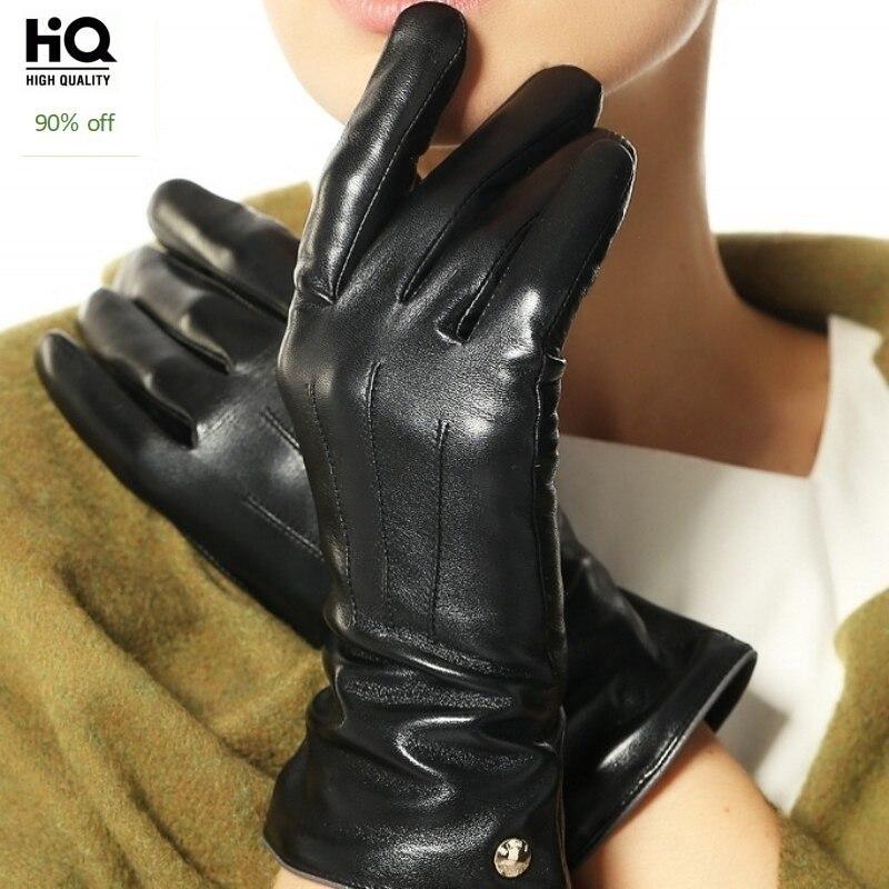 2020 Fashion Elegant Women's Touchscreen Gloves Wrist Genuine Leather Winter Warm Fleece Sheepskin Driving Touch Glove Eldiven