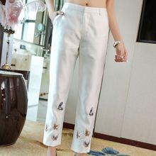 Китайские современные брюки с вышивкой женские брюки