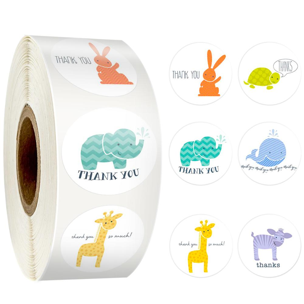 500pcs/roll Cartoon Animals Thank You Sticker For Kids Toys Notebook Decoration Labels Sticker Thanksgiving Gift Sticker