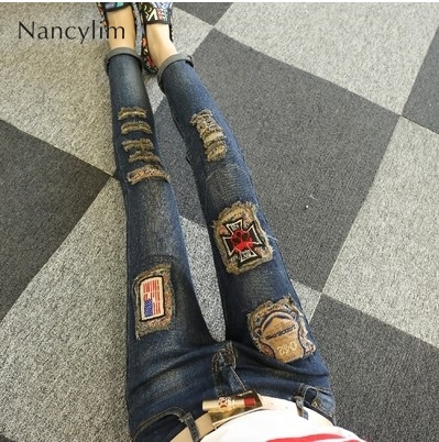 Ripped Jeans For Women 2019 New Female Autumn Winter Embroidery Slim Hollow Pencil Pants Mujer Denim Jeans Womens Streetwear