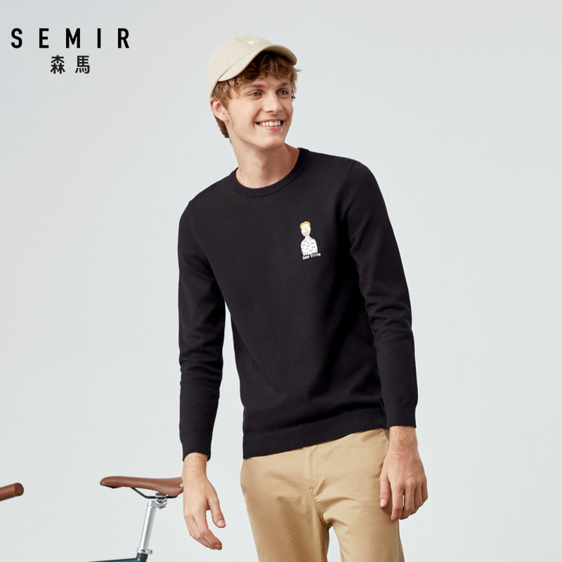 SEMIR Men Fine-Knit Sweater With Applique Men's Pullover Sweater With Ribbed Crewneck Cuff And Hem In Soft Cotton Fashion Spring