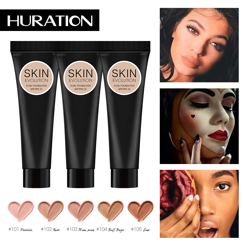 Huration Waterproof Liquid Foundation Makeup Base Face Liquid Foundation BB Cream Concealer Moisturizer Oil-control Whitening image
