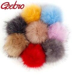 Bolinhas de pompom de pele para mulheres, 12cm, imitação, chapéu falso, bola de poms para diy, chapéu de malha, acessórios