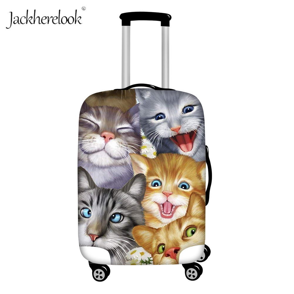 Jackherelook Cute Cats Dogs Selfie Print Luggage Dustpoof Cover Crazy Horse Suitcase Cover Bags Thickened Case Protection Pouch