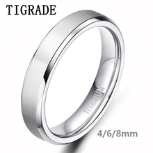 TIGRADE 4mm 6mm Brushed Silver Titanium Ring Female High Polished Edges Wedding Band Engagement Rings For Women Fashion Jewelry