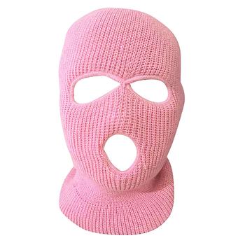 Pełna maska do osłony twarzy trzy 3 otwory kominiarka z dzianiny kapelusz armia taktyczna CS zima narciarska maska rowerowa czapka typu Beanie szalik ciepłe maski na twarz tanie i dobre opinie COTTON pink cs go full face mask 2019 hot sale rush B Unisex Winter Warm Ski Cycling XS Full Face Mask Cover Neck Guard Scarf Shield