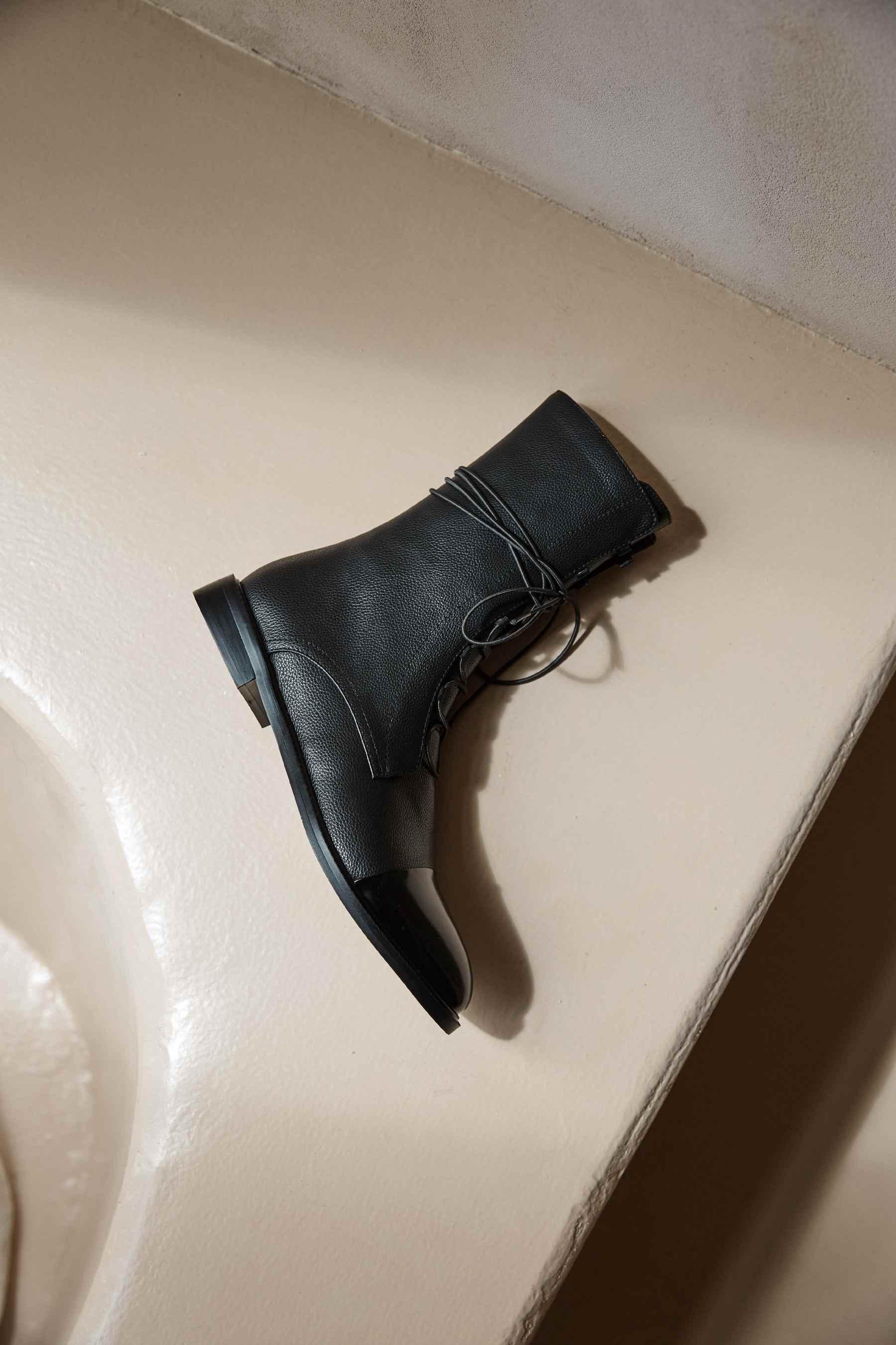 Lenkisen hakiki deri düşük topuklu yuvarlak ayak moda dantel up İngiliz kış klasik katı sıcak tutmak rahat yarım çizmeler L22
