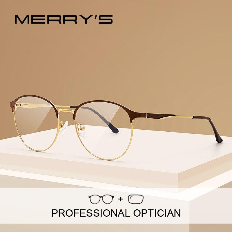 MERRYS DESIGN Women Prescription Anti Blue Ray Round Glasses Full Myopia Optical Frames Eyewear S2024PG