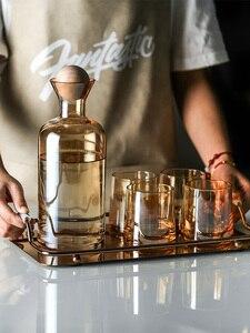 Простой Стекло холодной воды чайник и чашки набор домашний, для напитков горшок сок Стекло бутылка с деревянный шар крышка стакана воды быт...