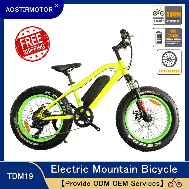 AOSTIRMOTOR Electric Mountain font b Bike b font 4 0 Fat Tire Electric Bicycle Beach Cruiser