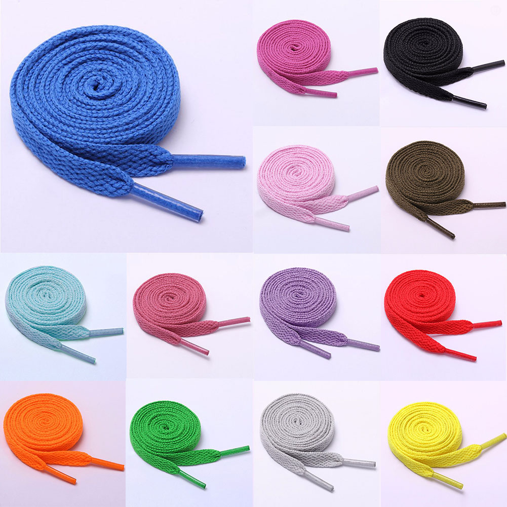 80-120 Cm Round Sport Shoes Shoelaces Flat Coloured Cotton Solid Athletic Sneaker Shoe Laces Sport Shoelaces For Kid Adults
