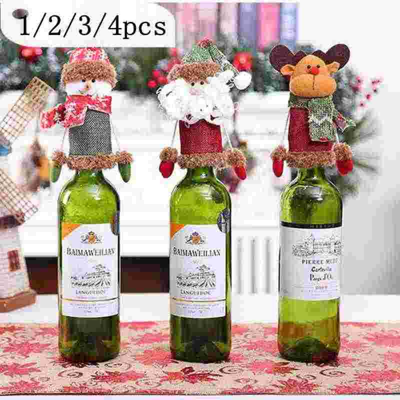 Wine Bottle Cover Set Christmas Decorations for Home Santa Claus Snowman Stocking Gift New Year Party Decor Supplies 1/2/3/4PCS