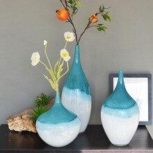 Синие и белые цветные стеклянные изделия из американского стекла, натуральные украшения, Геометрическая ваза, украшение для дома