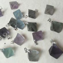 Natural crystal fluorite ore original stone pendant purple green DIY semi-finished products