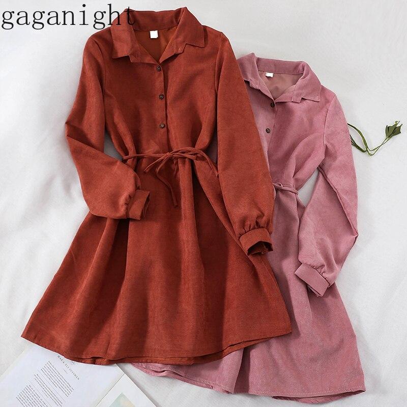 Женское платье-макси Gaganight, винтажное платье с длинным рукавом и поясом на кнопках, 2019