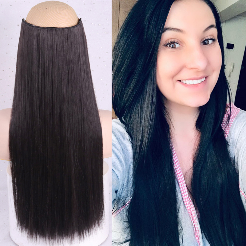 WERD Long Straight Women Clip In Hair Extensions Black Brown High Tempreture Synthetic Hair Piece