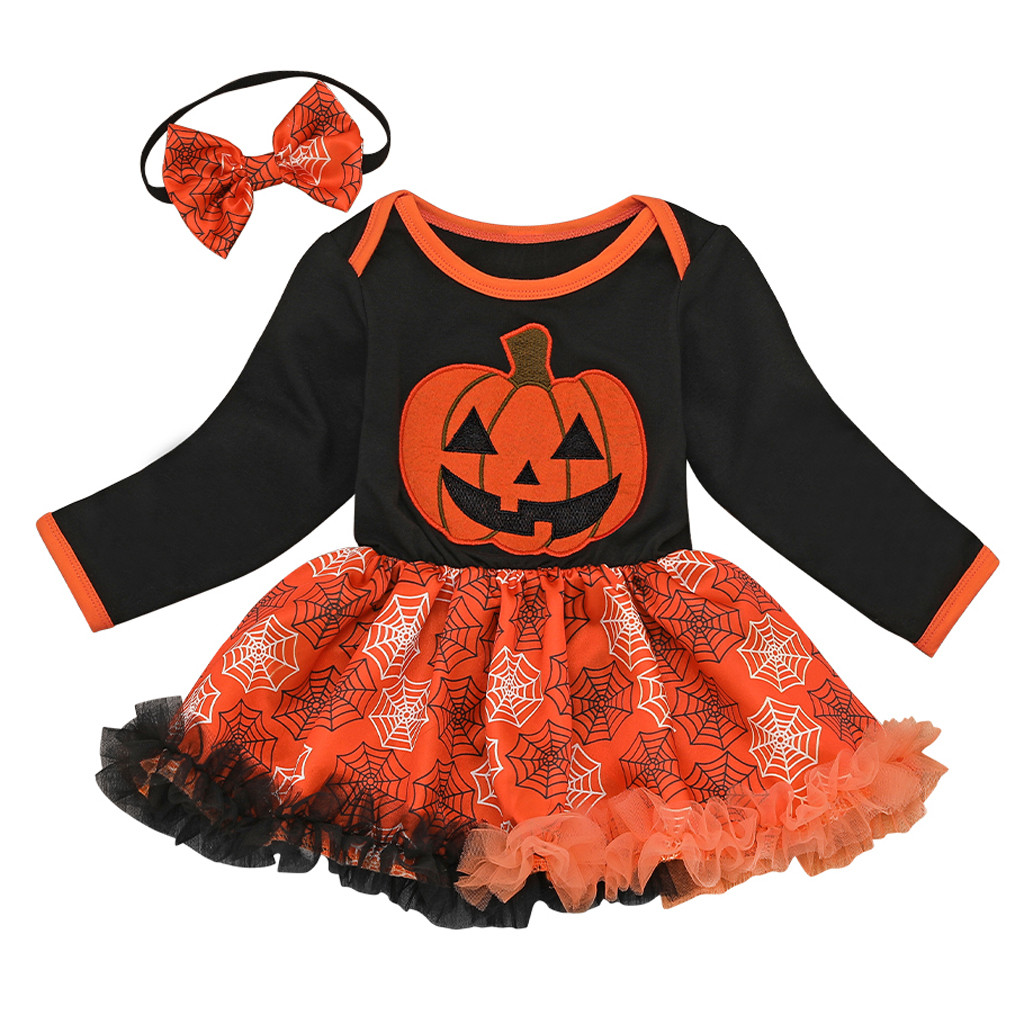 Newborn Infant Baby Girl Halloween Pumpkin Outfits Romper Tutu Dress Skirt Cloth