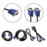 Tüketici Elektroniği'ten VGA Kabloları'de 1.35m 3m 5m 10m 1080P VGA HD 15 Pin erkek erkek uzatma kablo kordonu için PC dizüstü projektör HDTV monitör