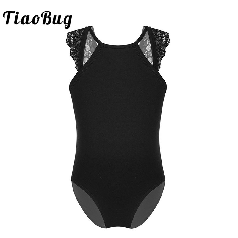 <font><b>TiaoBug</b></font> Kids Teens Sleeveless Lace Splice Cutout Back Solid Color Ballet Dance Costume Gymnastics Leotard Girls Child Dancewear image