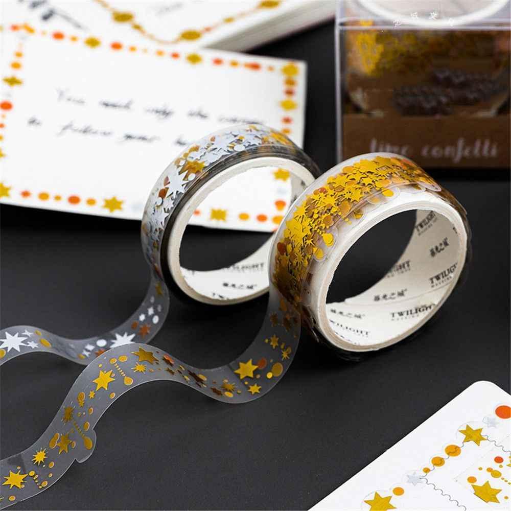 3 Pcs/set Bintang Stiker Seni Penyepuhan Silver Series Washi Kaset Kawaii Stationery Diri Perekat Masking Diy Scrapbooking Dekoratif