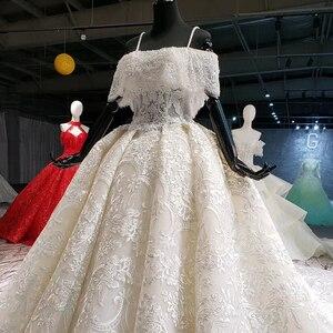 Image 3 - HTL916 koronkowe suknie ślubne z welon ślubny specjalna łódź z dekoltem, bez ramienia suknie ślubne balowe nowy vestido de noiva plus rozmiar
